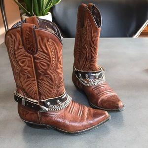 Joe Sanchez embossed buckle chain western boots